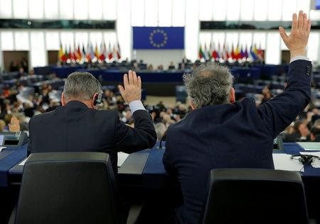 MEPs take part in a voting session at the European Parliament in Strasbourg