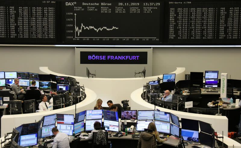European shares end week on dour note as trade woes linger