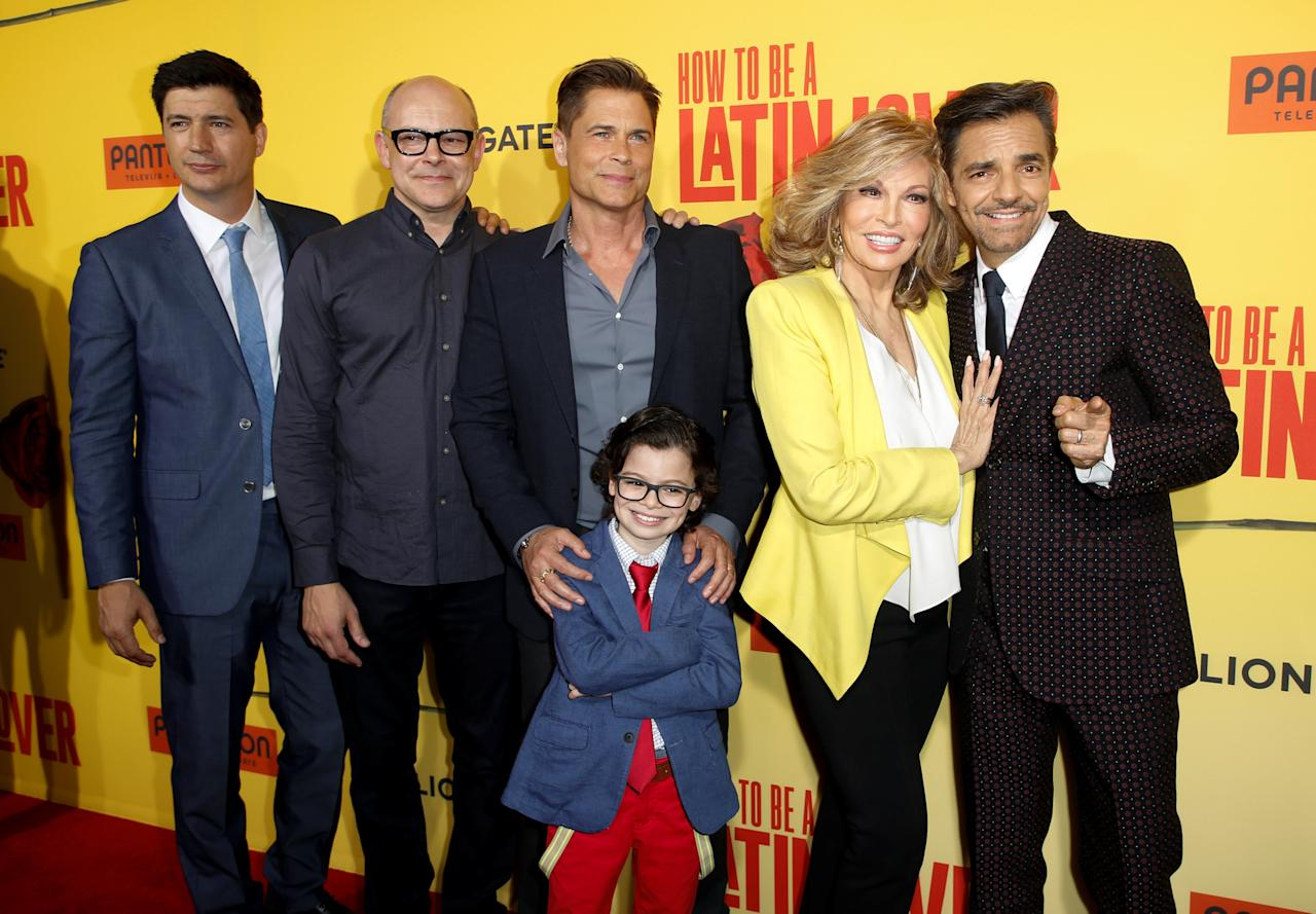 "Director Ken Marino (L) and cast members, from second left to right, Rob Corddry, Rob Lowe, Raphael Alejandro, Raquel Welch and Eugenio Derbez pose at the premiere of ""How to Be a Latin Lover"" in Los Angeles, California, U.S. April 26, 2017. REUTERS/Danny Moloshok"