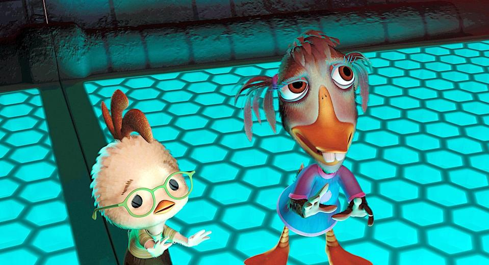 """<p><strong>What it's about:</strong> """"No one believes Chicken Little when he tries to warn of an alien invasion - so it's up to him and his misfit friends to save the world!""""</p> <p><strong>Ages it's best suited to:</strong> 7 and up</p> <p><a href=""""https://www.netflix.com/title/70028197"""" class=""""link rapid-noclick-resp"""" rel=""""nofollow noopener"""" target=""""_blank"""" data-ylk=""""slk:Watch Chicken Little here!"""">Watch <strong>Chicken Little</strong> here!</a></p>"""