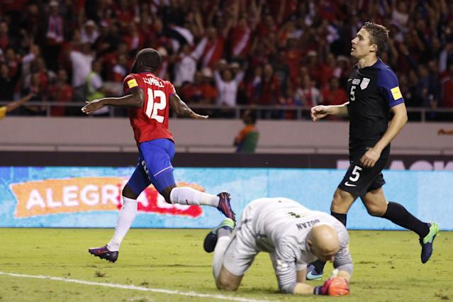 """<a class=""""link rapid-noclick-resp"""" href=""""/soccer/players/joel-campbell"""" data-ylk=""""slk:Joel Campbell"""">Joel Campbell</a>'s two goals added to the Americans' misery in Costa Rica. (AP Photo)"""