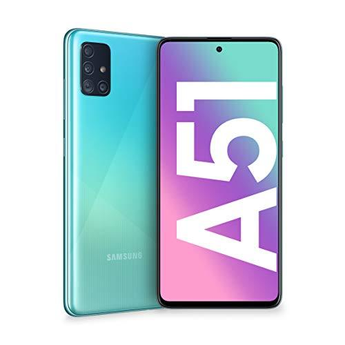 "Samsung Galaxy A51 Smartphone, Display 6.5"" Super AMOLED, 4 Fotocamere Posteriori, 128 GB Espandibili, RAM 4 GB, Batteria 4000 mAh, 4G, Dual Sim, Android 10, [Versione Italiana], Prism Crush Blu"