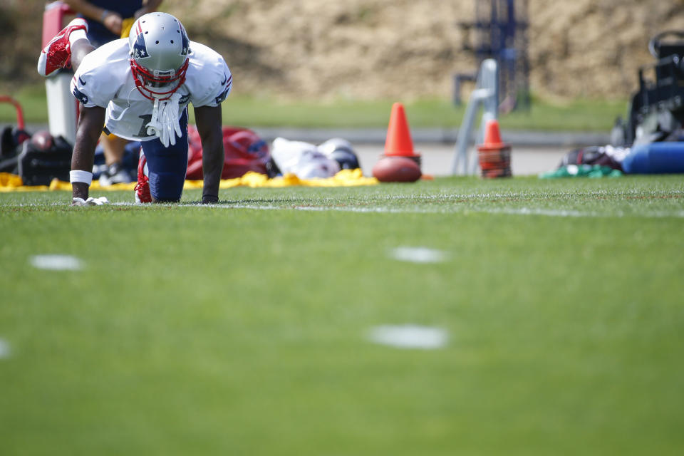 Sep 11, 2019; Foxborough, MA, USA; New England Patriots wide receiver Antonio Brown warms up during practice at Gillette Stadium. Mandatory Credit: Greg M. Cooper-USA TODAY Sports