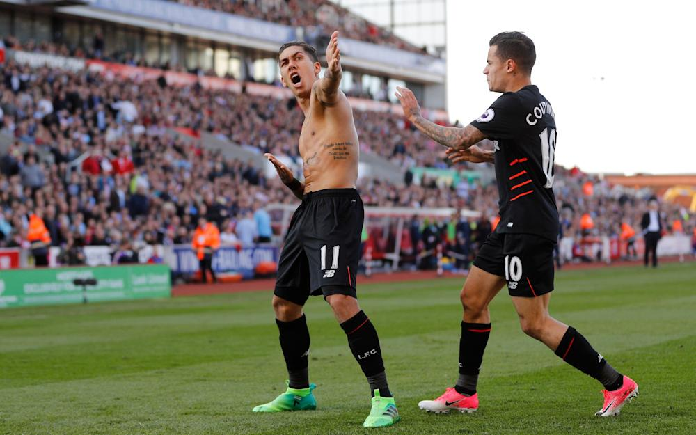 Philippe Coutinho and Roberto Firmino Liverpool players