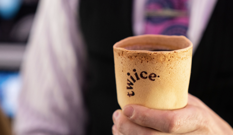 Pictured is the edible biscotti coffee cup. Source: Air New Zealand Twitter