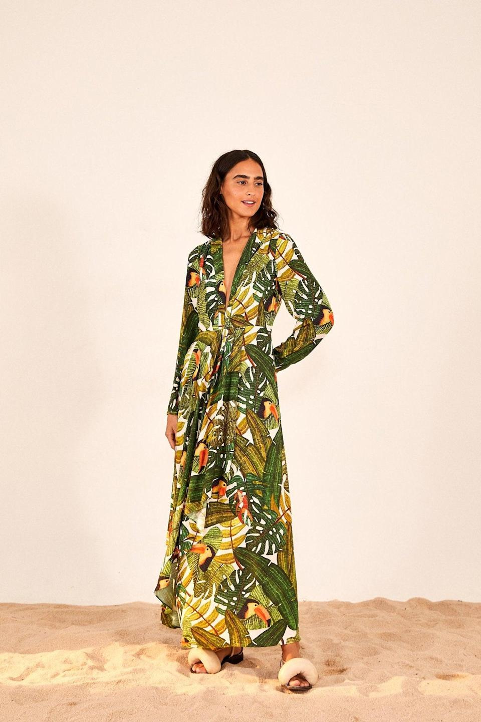 """<br><br><strong>Farm Rio</strong> Paradise Forest Maxi Dress, $, available at <a href=""""https://go.skimresources.com/?id=30283X879131&url=https%3A%2F%2Fwww.farmrio.com%2Fcollections%2Fsale%2Fproducts%2Fparadise-forest-maxi-dress"""" rel=""""nofollow noopener"""" target=""""_blank"""" data-ylk=""""slk:Farm Rio"""" class=""""link rapid-noclick-resp"""">Farm Rio</a>"""