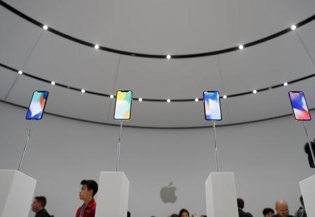 Apple iPhone X samples are displayed during a product launch event in Cupertino
