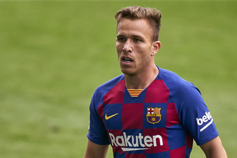 VIGO, SPAIN - JUNE 27: Arthur Melo of FC Barcelona looks on during the Liga match between RC Celta de Vigo and FC Barcelona at Abanca-Balaídos on June 27, 2020 in Vigo, Spain. (Photo by Jose Manuel Alvarez/Quality Sport Images/Getty Images)