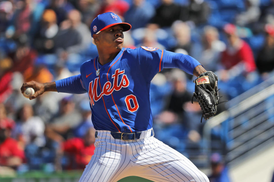 New York Mets pitcher Marcus Stroman throws during the first inning of a spring training baseball game against the St. Louis Cardinals Friday, Feb. 28, 2020, in Port St. Lucie, Fla. (AP Photo/Jeff Roberson)