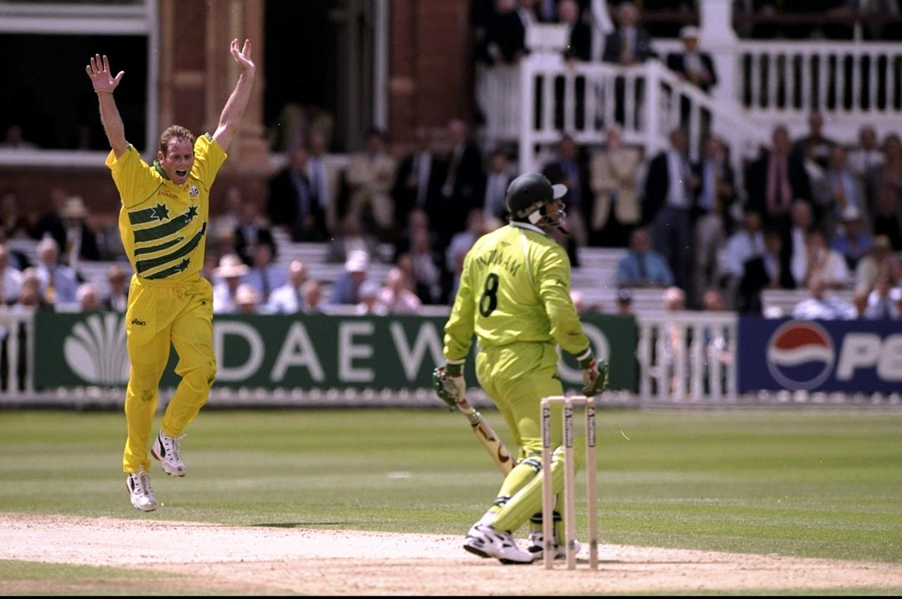 20 Jun 1999:  Paul Reiffel of Australia takes the wicket of Inzamam-ul-Haq of Pakistan controversially caught behind during the Cricket World Cup Final at Lord's in London. Australia won by 8 wickets. \ Mandatory Credit: Laurence Griffiths /Allsport