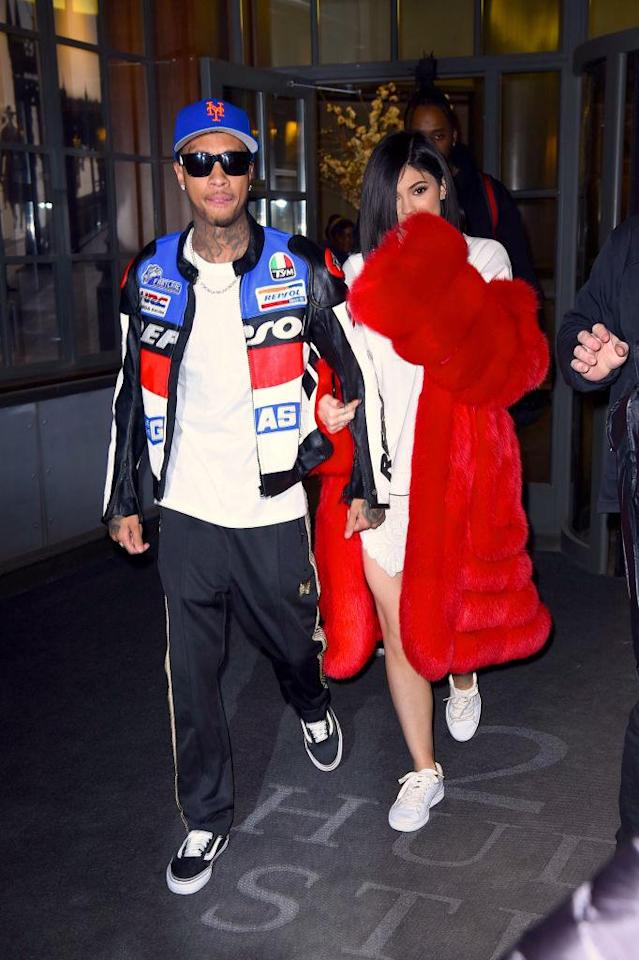 <p>Like Kim and Kanye, Kylie Jenner and Tyga often match. The two coordinated their jackets in Manhattan on Feb. 14 in New York City. (Photo: Getty Images) </p>