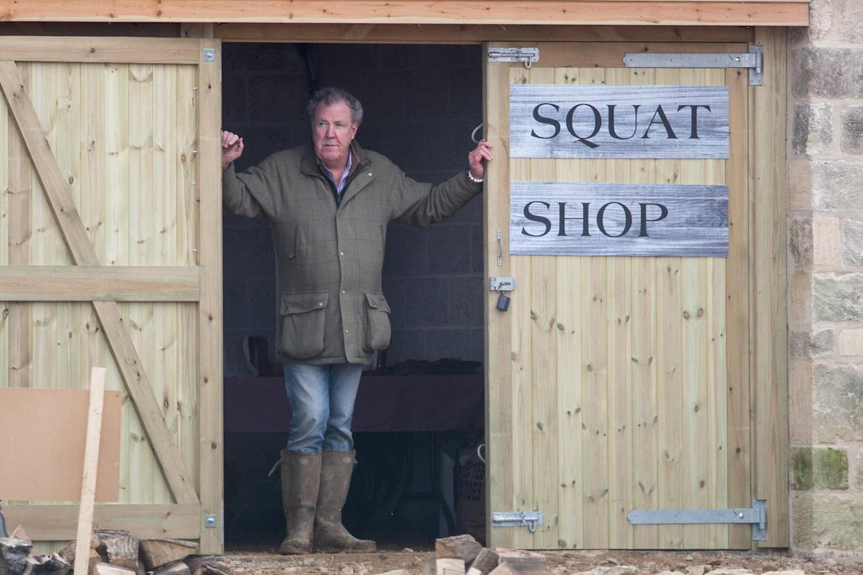 FILE PICTURE - Jeremy Clarkson outside his Diddly Squat farm shop in Chipping Norton, Oxfordshire. 22 February 2020.   See SWNS story SWSYclarkson. Jeremy Clarkson's Farm has been