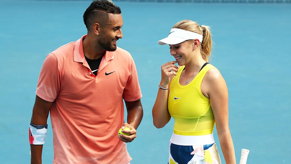 Nick Kyrgios and Amanda Anisimova, pictured here at the Australian Open.