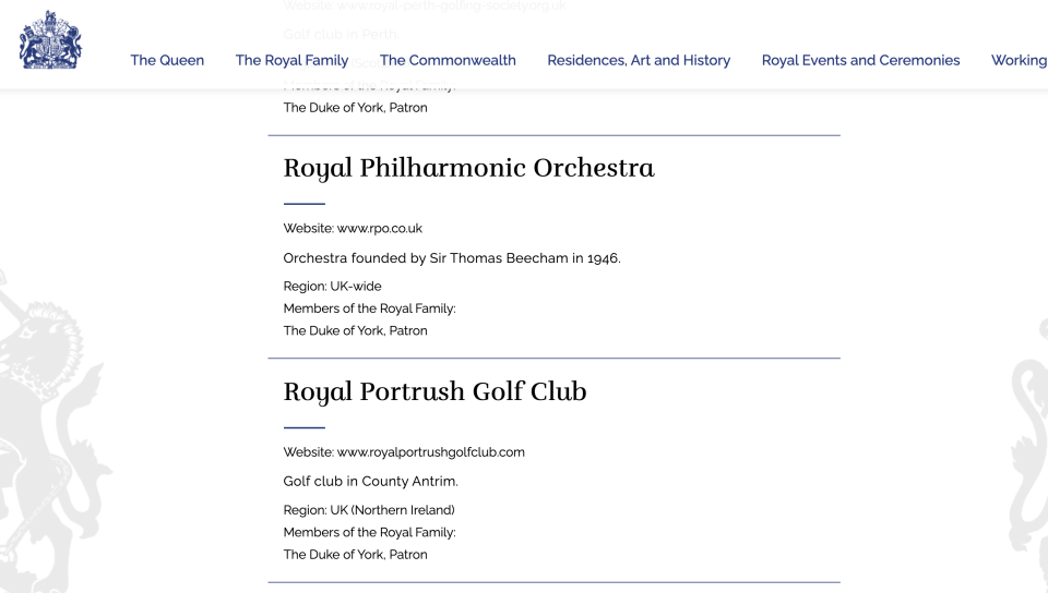 The Duke of York is listed as the patron of the Royal Philharmonic Orchestra. (Royal.uk)