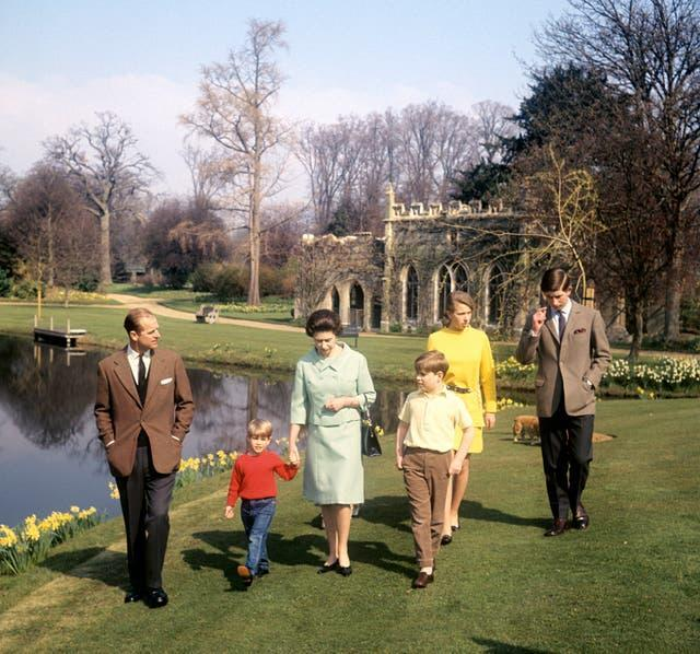 The royal family during filming of the programme
