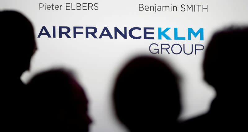 FILE PHOTO: Journalists attend a new conference where Air France-KLM announce their 2018 annual results in Paris