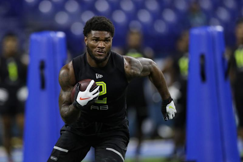 Florida State running back Cam Akers runs a drill at the NFL football scouting combine in Indianapolis.