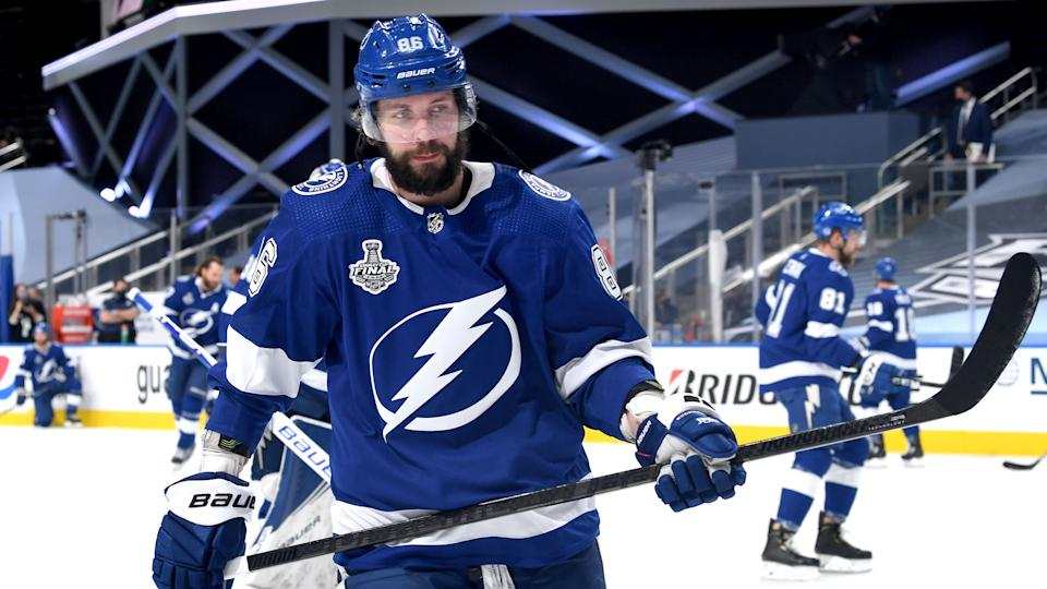EDMONTON, ALBERTA - SEPTEMBER 19: Nikita Kucherov #86 of the Tampa Bay Lightning warms up before Game One of the NHL Stanley Cup Final between the Dallas Stars and the Tampa Bay Lightning at Rogers Place on September 19, 2020 in Edmonton, Alberta, Canada. (Photo by Andy Devlin/NHLI via Getty Images)