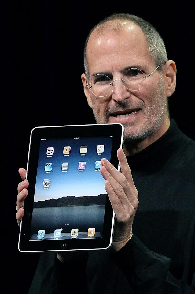 SAN FRANCISCO - FILE:  (EDITORS NOTE: Retransmission with alternate crop.) Apple Inc. CEO Steve Jobs holds up the new iPad as he speaks during an Apple Special Event at Yerba Buena Center for the Arts January 27, 2010 in San Francisco, California. Jobs, 56, passed away October 5, 2011 after a long battle with pancreatic cancer. Jobs co-founded Apple in 1976 and is credited, along with Steve Wozniak, with marketing the world's first personal computer in addition to the popular iPod, iPhone and iPad.  (Photo by Justin Sullivan/Getty Images)