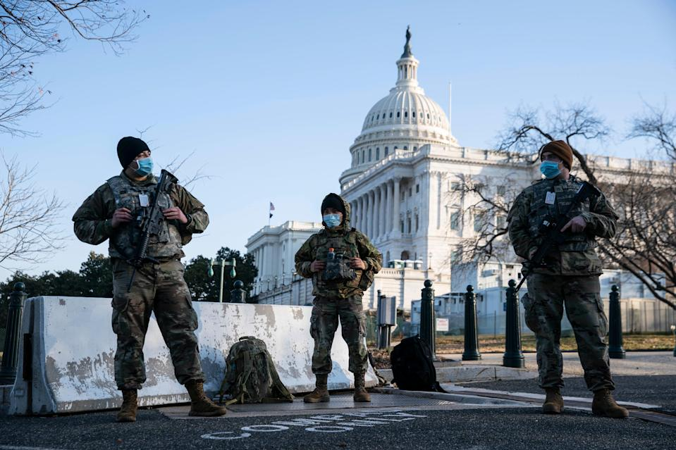 The National Guard has had a massive presence on Capitol Hill since a pro-Trump mob stormed the complex in January. (Getty Images)