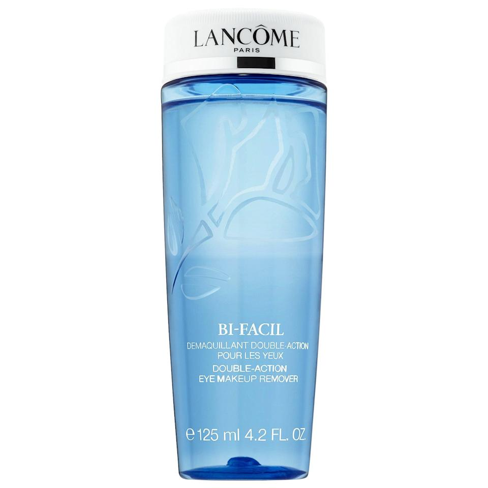"""<p>This iconic, top-rated <span>Lancôme Bi-Facil Double-Action Eye Makeup Remover</span> ($15-$40) has lipid and water phases to both loosen makeup and then wash it away - perfect for a time when you've <a href=""""https://www.popsugar.com/beauty/eye-makeup-face-masks-editor-experiment-47596526"""" class=""""link rapid-noclick-resp"""" rel=""""nofollow noopener"""" target=""""_blank"""" data-ylk=""""slk:added even more dramatic eye looks into your rotation"""">added even more dramatic eye looks into your rotation</a>.</p>"""
