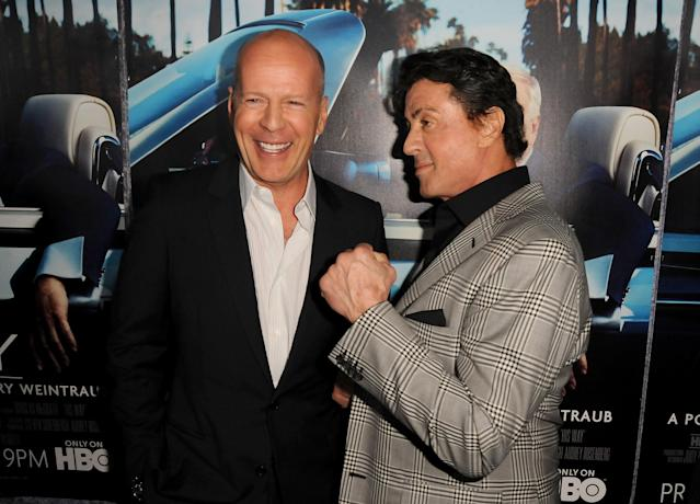 Bruce Willis and Sylvester Stallone at the L.A. premiere of HBO's <em>His Way</em> in 2011. (Photo: Jeff Kravitz/Getty Images)
