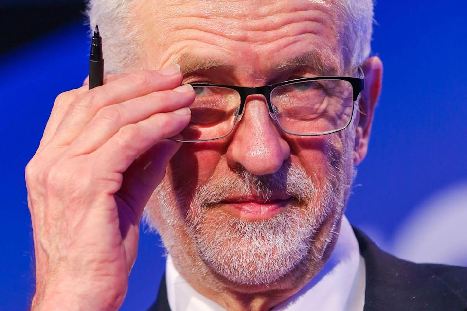 Jeremy Corbyn MP Leader of Labor Party is seen speaking during the 2019 National Manufacturing Conference in Queen Elizabeth II Center. The conference addresses the difficulties and challenges the manufacturing sector will face post-Brexit. (Photo by Dinendra Haria / SOPA Images/Sipa USA)