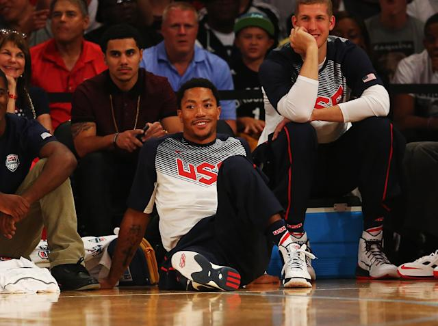 NEW YORK, NY - AUGUST 20: Derrick Rose of the USA looks on against the Dominican Republic during their game at Madison Square Garden on August 20, 2014 in New York City. (Photo by Al Bello/Getty Images)