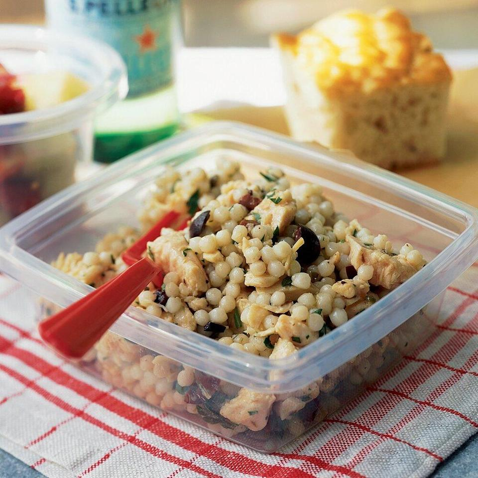 """<p>You can substitute 2 cups cooked chicken or turkey breast for vacuum-packed chicken. </p><p><a href=""""https://www.myrecipes.com/recipe/chicken-salad-with-olive-vinaigrette"""" rel=""""nofollow noopener"""" target=""""_blank"""" data-ylk=""""slk:Chicken Salad with Olive Vinaigrette Recipe"""" class=""""link rapid-noclick-resp"""">Chicken Salad with Olive Vinaigrette Recipe</a></p>"""
