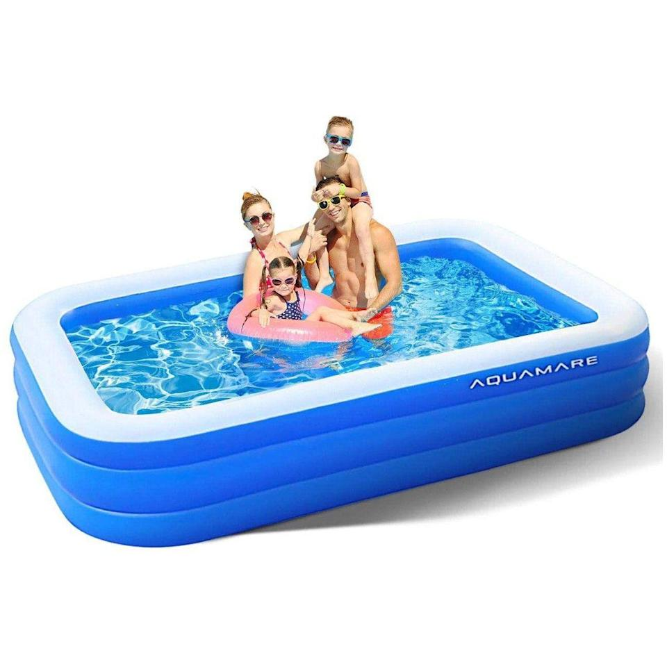 """<p><strong>Aquamare</strong></p><p>amazon.com</p><p><strong>$49.99</strong></p><p><a href=""""https://www.amazon.com/dp/B089D17K9P?tag=syn-yahoo-20&ascsubtag=%5Bartid%7C10055.g.33275293%5Bsrc%7Cyahoo-us"""" rel=""""nofollow noopener"""" target=""""_blank"""" data-ylk=""""slk:Shop Now"""" class=""""link rapid-noclick-resp"""">Shop Now</a></p><p>The brand claims that this pool is <strong>spacious enough to fit an entire family, including two adults and three kids.</strong> The three-layered design helps keep the pool fully inflated during use, and the white top ring of the pool is aimed to keep your arms cool, even in the hot sun. </p><p><strong>Dimensions:</strong> 82.6 x 55 inches<br><strong>Comes with air pump:</strong> No</p>"""