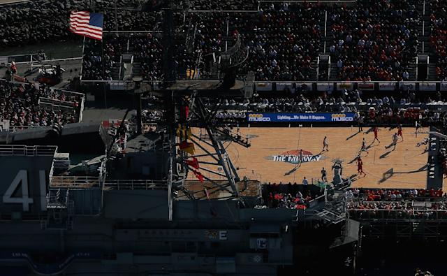 SAN DIEGO, CA - NOVEMBER 11: An aerial view of the Battle On The Midway college basketball game played between the Syracuse Orange and the San Diego State Aztecs on board the USS Midway on November 11, 2012 in San Diego, California. (Photo by Ezra Shaw/Getty Images)