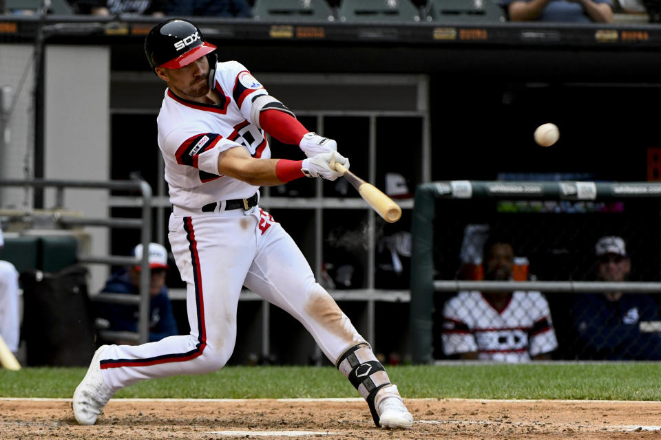Chicago White Sox's Danny Mendick (20) hits a home run off Los Angeles Angels' Jaime Barria (51) during the fifth inning of a baseball game Sunday, Sept. 8, 2019, in Chicago. (AP Photo/Matt Marton)