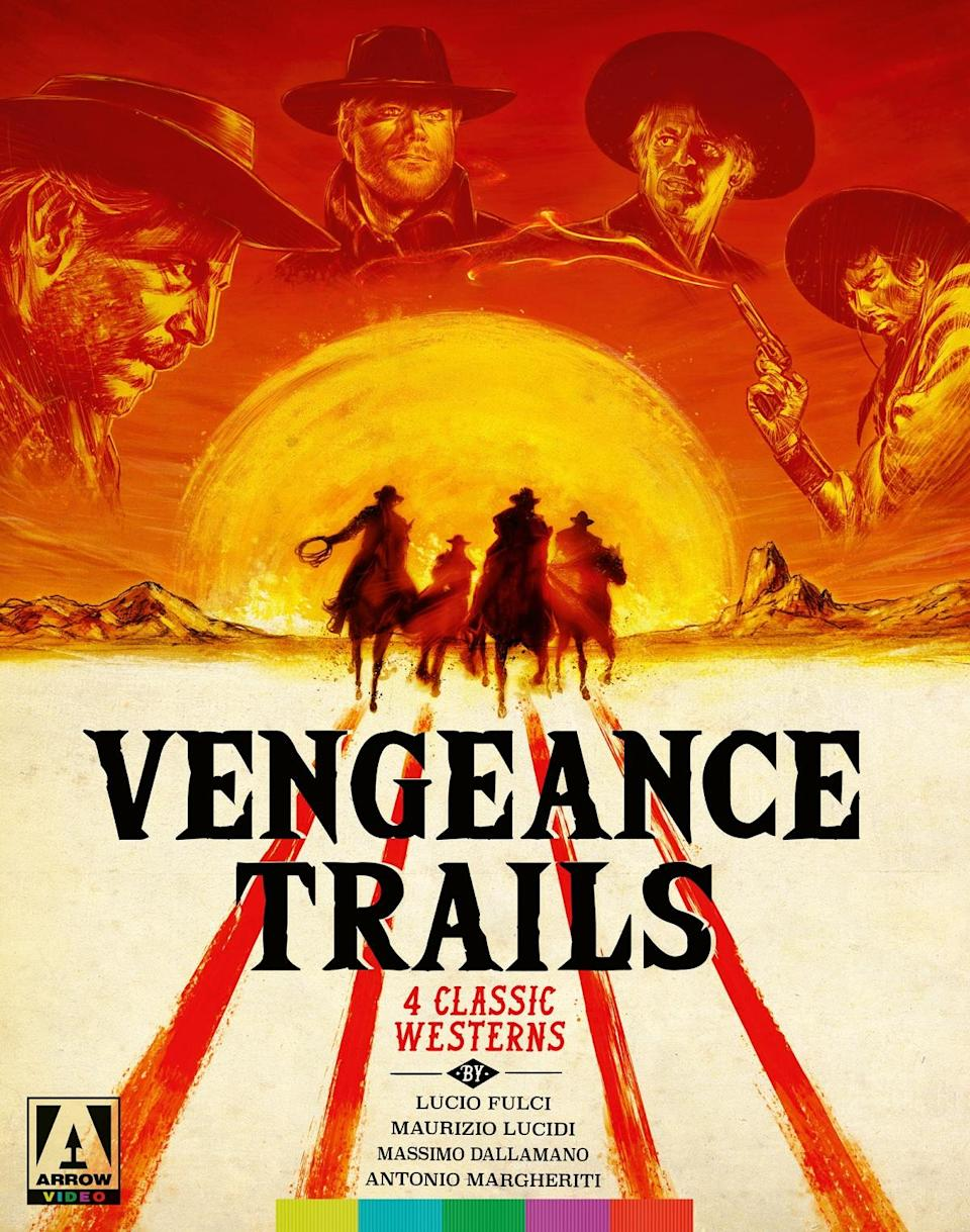 Vengeance Trails Blu-ray box set covering featuring an illustration of four cowboy horsemen riding toward a setting sun. Above the sun, we see illustrations of Franco Nero, Robert Woods, Enrico Maria Salerno, and Klaus Kinski.