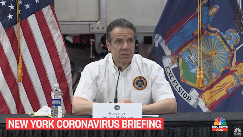 New York Governor Andrew Cuomo giving his daily coronavirus response press briefing in Queens on 2 May, 2020: NBC News