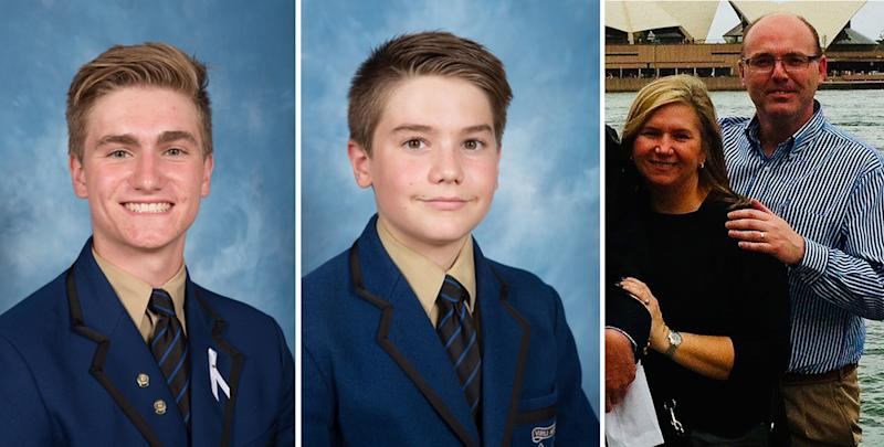This picture shows school photos of Berend Hollander and his brother Matthew next to a picture of parents Barbara and Martin Hollander at Sydney Harbour.