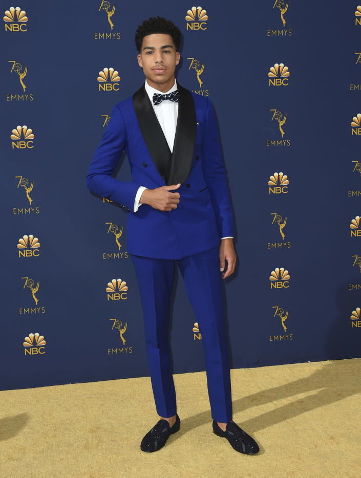 FILE - Marcus Scribner arrives at the 70th Primetime Emmy Awards on Monday, Sept. 17, 2018, at the Microsoft Theater in Los Angeles. Scribner turns 21 on Jan. 7. (Photo by Jordan Strauss/Invision/AP, File)