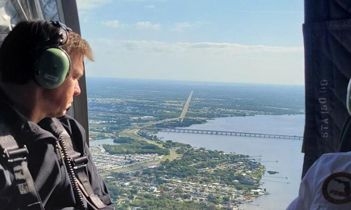 Governor Ron DeSantis tours the area over Piney Point.