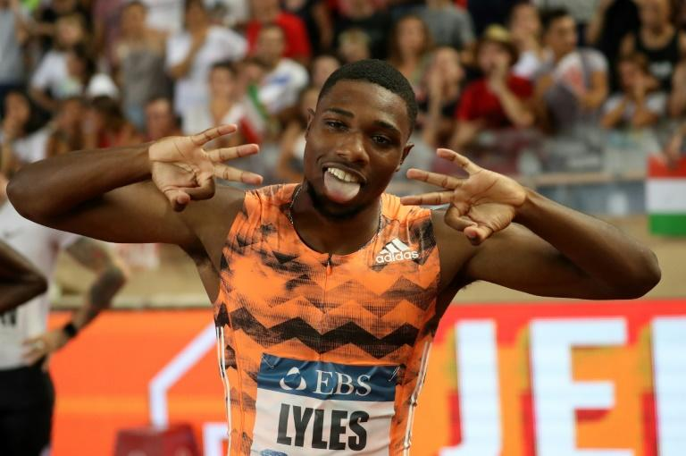 Noah Lyles of the US celebrates after victory in the men's 200 metres during the Diamond League meeting in Monaco