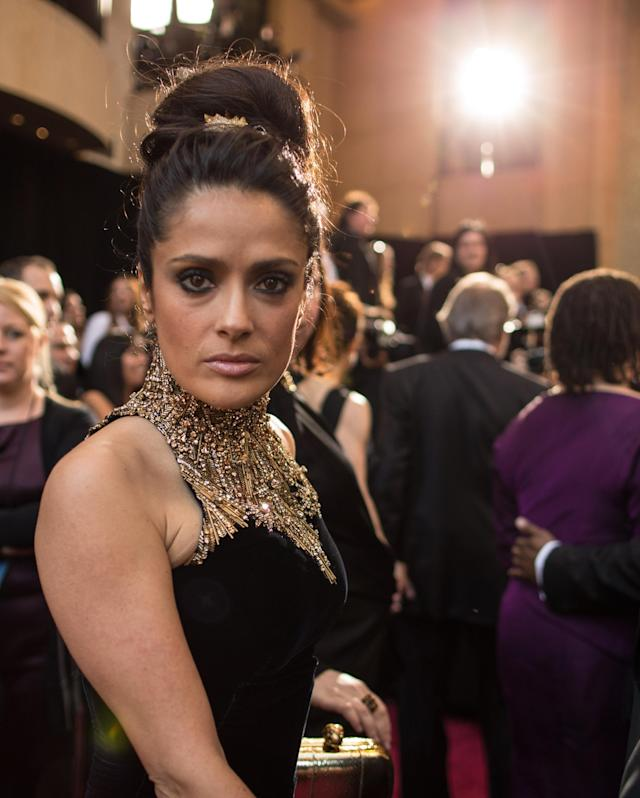 HOLLYWOOD, CA - FEBRUARY 24: Actress Salma Hayek arrives at the Oscars held at Hollywood & Highland Center on February 24, 2013 in Hollywood, California. (Photo by Christopher Polk/Getty Images)