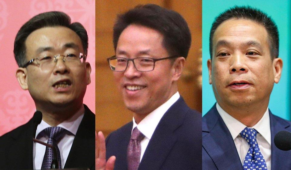Hong Kong and Macau Affairs Office officials (left to right) Song Zhe, Zhang Xiaoming and Huang Liuquan are expected preside over the meetings with local leaders. Photo: SCMP