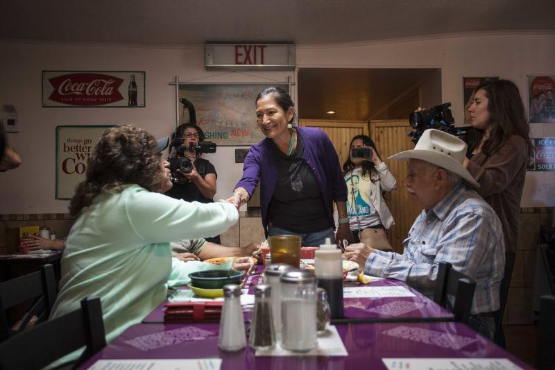 New Mexico candidate for congress Deb Haaland speaks to constituents at Barelas Coffee House restaurant in Albuquerque, N.M., on midterms election day Tuesday, Nov. 6, 2018. (AP Photo/Juan Labreche)
