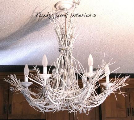 """<div class=""""caption-credit""""> Photo by: Funky Junk Interiors</div><b>White twig chandy</b> <br> Transform willow branches and grapevines into a rustic chandelier! Perfect for adding natural texture and homespun elegance to shabby chic decor, this chandy is sure to be the crowning glory of any room! <br> <i>Get the full tutorial at <a href=""""http://www.funkyjunkinteriors.net/2010/11/lighting-up-my-life-with-white-branch.html"""" rel=""""nofollow noopener"""" target=""""_blank"""" data-ylk=""""slk:Funky Junk Interiors"""" class=""""link rapid-noclick-resp"""">Funky Junk Interiors</a></i> <br> <br> <b><i><a href=""""http://www.babble.com/home/18-gorgeous-diy-light-fixtures/?cmp=ELP