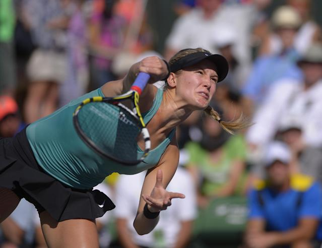 Eugenie Bouchard, of Canada, serves against Sara Errani, of Italy, in a match at the BNP Paribas Open tennis tournament on Sunday, March 9, 2014, in Indian Wells, Calif. Bouchard won the match 6-3, 6-3. (AP Photo/Mark J. Terrill)