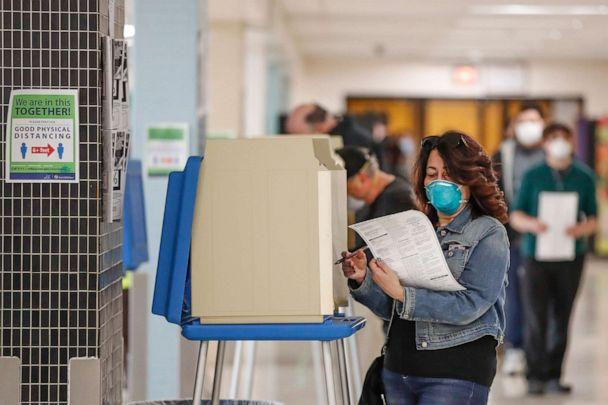 PHOTO: A woman casts her ballot in a Democratic presidential primary election at the Hamilton High School in Milwaukee, April 7, 2020. (Kamil Krzaczynski/AFP via Getty Images)