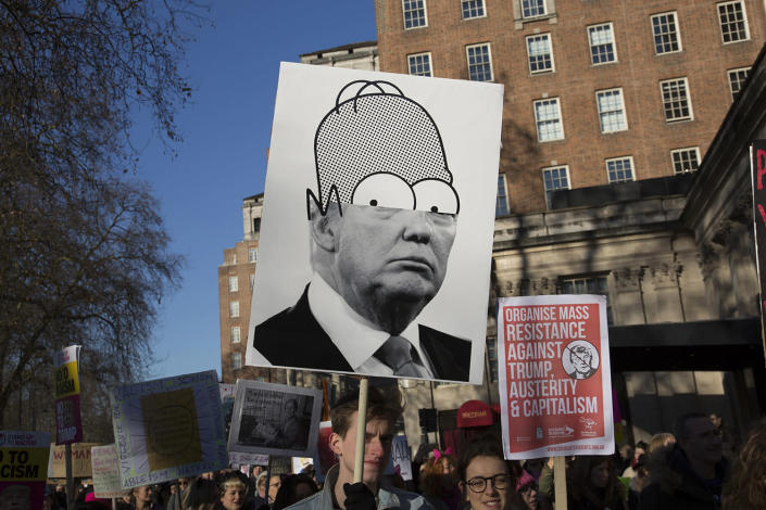 <p>Women's March on London coincides with the first day of Donald Trump's presidency on Jan. 21. (Mike Kemp/In Pictures via Getty Images) </p>