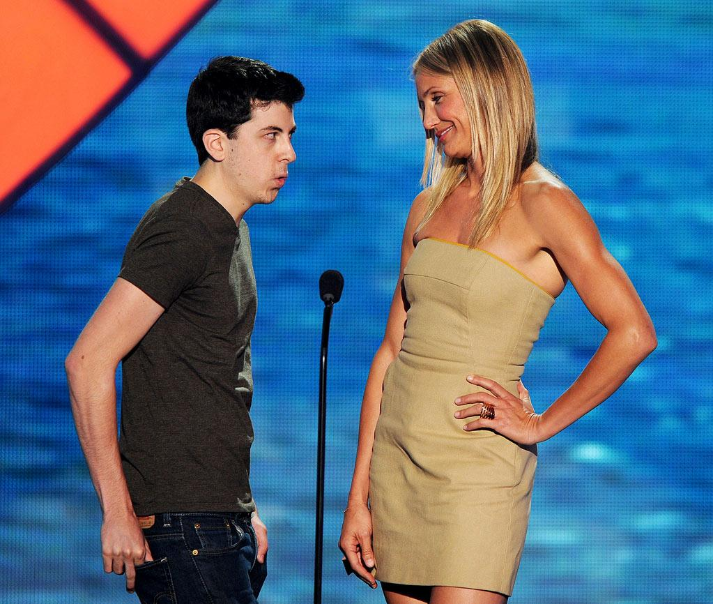 """WORST: Bad Teacher — Before Cameron Diaz got onstage to accept Best Comedic Actress, Christopher Mintz-Plasse was doing this bit about an actress being obsessed with him. When Cameron won, Mintz-Plasse of course revealed the actress was Cameron. Then they had an awkward, whispery moment when she got onstage, and for a moment there, it looked like they were about to kiss. Then Cameron did her sexy voice (we guess?) and told him, """"We'll talk about this later, young man."""" It just reminded us again of how hard Cameron is trying to hold on to that sex symbol image instead of just growing up. And it was awkward, so there was that, too."""