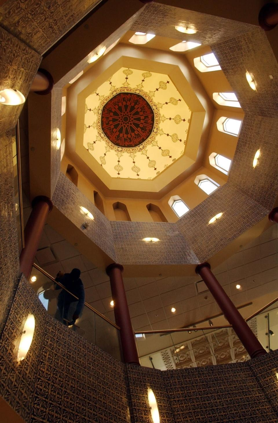 FILE- The interior of the Islamic-style dome that forms part of the Arab American National Museum appears in Dearborn, Mich. on April 15, 2005. The location is featured in a collection of mini-essays by American writers published online by the Frommer's guidebook company about places they believe helped shape and define America. (AP Photo/Carlos Osorio, File)