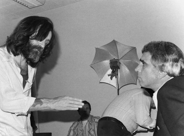 <p>Convicted mass murderer Charles Manson, while he was serving a life sentence in California for the 1969 Tate-LaBianca murders,conducts an exclusive interview with host Tom Snyder on June 12, 1981. (Photo: NBC NewsWire/NBC/NBCU Photo Bank via Getty Images) </p>