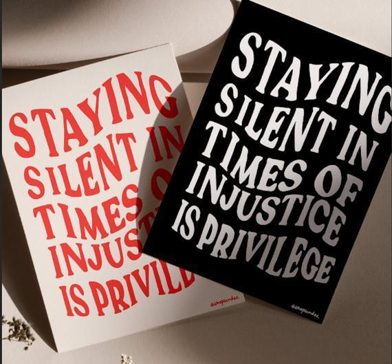"<h2>Etsy Staying Silent In Times Of Injustice Is Privilege Print</h2><br>These hand-designed prints can be purchased for just $7.90 each, with 100% of the proceeds split evenly between <a href=""https://www.twocc.us/"" rel=""nofollow noopener"" target=""_blank"" data-ylk=""slk:The Trans Women of Color Collective"" class=""link rapid-noclick-resp"">The Trans Women of Color Collective</a>, <a href=""https://www.blackwomensblueprint.org/"" rel=""nofollow noopener"" target=""_blank"" data-ylk=""slk:Black Women's Blueprint"" class=""link rapid-noclick-resp"">Black Women's Blueprint</a>, and the <a href=""https://www.naacpldf.org/"" rel=""nofollow noopener"" target=""_blank"" data-ylk=""slk:NAACP Legal Defense Fund"" class=""link rapid-noclick-resp"">NAACP Legal Defense Fund</a>. A custom frame adds a nice touch.<br><br><strong>shopsundaestudios</strong> Staying Silent In Times Of Injustice Is Privilege Prin, $, available at <a href=""https://go.skimresources.com/?id=30283X879131&url=https%3A%2F%2Fwww.etsy.com%2Flisting%2F817940019%2Fprivilege-blm-donation-print"" rel=""nofollow noopener"" target=""_blank"" data-ylk=""slk:Etsy"" class=""link rapid-noclick-resp"">Etsy</a>"