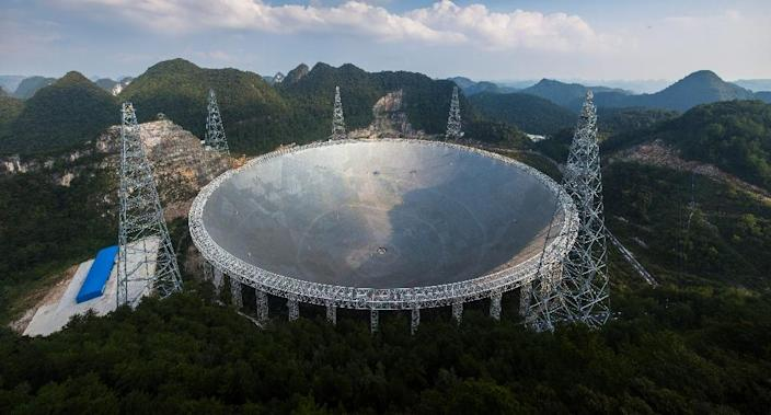 The five-hundred-metre Aperture Spherical Telescope in the China's southwest, which cost 1.2 billion yuan ($180 million) to build, is the world's largest radio telescope (AFP Photo/STR)